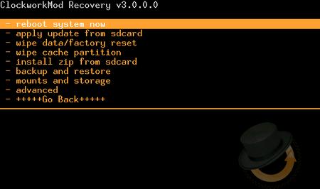Recovery ClockworkMod per il wipe