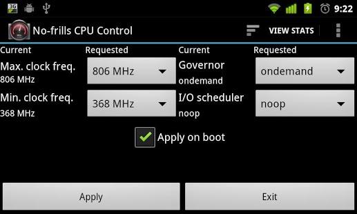 Overclock CPU con NoFrills per Android